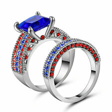 sapphire Wedding Ring Set Pave CZ Band Womens Silver Rhodium Plated Size8 Gift