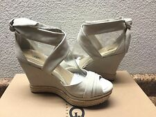 UGG LUCY NUDE NUBUCK ESPADRILLE WEDGE WRAPPED SHOE US 9.5 / EU 40.5 / UK 8