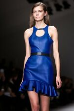David Koma Blue Circle Cut Out Wool Dress UK12