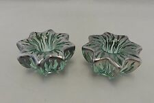 Antique Silver Overlay Green Glass Flower Form Candlesticks Signed