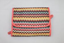 MISSONI Colorful Chevron & Pink Trim Makeup Case Hanging Valet Travel Bag