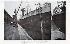 13 BATEAU VAPEUR LE DJURJURA STEAMER CIE NAVIGATION MIXTE IMAGE 1908 OLD PRINT