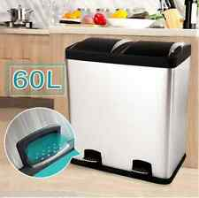 Modern 60L Dual Compartment Stainless Steel Garbage Bin Foot Pedals Flip-Top Lid