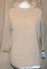 CHARTER CLUB BY MACY'S COWL NECK 3/4 SLEEVE TANW/GOLD METALLIC THREAD KNIT XL/OX