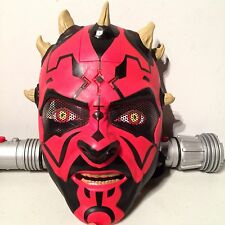 Star Wars Darth Maul Electronic Mask Cosplay Costume Dual Lightsaber Toy Sith