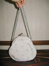 Adorable Framed Beaded Chain Clutch Bridal or Evening Bag Ivory Small