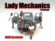 """LADY MECHANICS"" 4 PIECE FIGURE SET FOR 1:24 AMERICAN DIORAMA 23959,60,61,62"