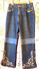 Sz 9/10- Blue Jean Denim Jeans w/Embroidered Floral Ruffled Bottom