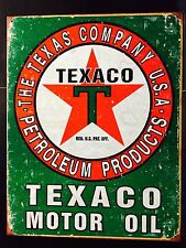 Texaco Motor Oil TIN SIGN gas Station Vintage Auto Garage Metal Wall Decor
