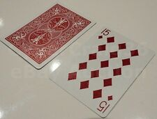 15 OF DIAMONDS GAFF BICYCLE PLAYING CARD MAGIC TRICK GIMMICK PREDICTION RED BACK