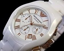 Emporio Armani AR 1410 Ceramica White Dial Chronograph Men's Wrist Watch +Box