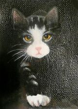 ACEO MINIATURE TABBY CAT STALKING II  MINIATURE OIL PAINTING BRADBERRY
