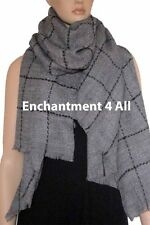 New Large Handmade Winter Fashion Scarf Shawl Wrap w/ Plaids, Dark Gray