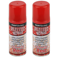 2 x Red Glitter Effect Colour Spray Can Paint Decorative Creative Crafts 200ml