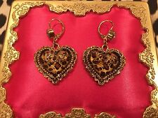 Betsey Johnson Vintage Leopard Lucite Crystal Heart LOVE Gold Earrings RARE