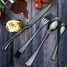 16pcs/ 4 Set Black Stainless Cutlery Knives Fork Spoon Teaspoon Dinnerware Gifts
