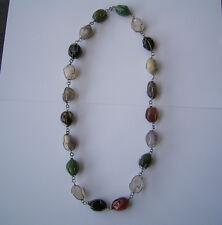 Wunderschöne Kette mit Edelstein-Oliven Jade Onyx Amethyst Bergkristall usw.