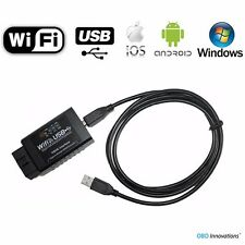 ELM327 WiFi + USB Cable OBD2 Car Diagnostics Scanner Scan Tool Code Reader