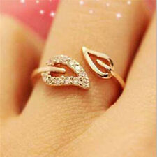 Silver Gold Plated Crystal Rhinestone Leaf Rings Women Wedding Promise Jewelry