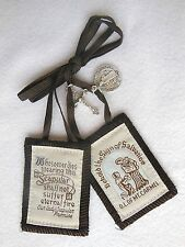 Traditional Catholic Brown Scapular includes St Benedict Medal & Crucifix WOOL