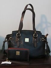 2pc DOONEY & BOURKE TOLEDO WINGED small SHOPPER +zip wallet in BLACK LEATHER NWT