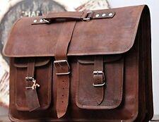 NEW Men Vintage Genuine Leather Satchel Shoulder Laptop Bag Messenger Briefcase