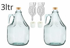 Set Wine making 2x 3l - Glass  Demijohn With Airlock Bubblers & Bung Free P&P UK