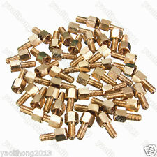 25Pcs Brass Standoff Hexagonal Net Spacer Screw Nut Female M3 4+6mm PC Board