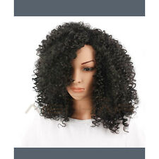 "Women Afro Kinky Curly Synthetic Hair Black 22"" Female Wigs Small Volume Wigs"