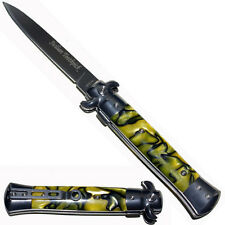 """9"""" Spring Assisted Opening Stiletto Pocket Knife Black Yellow"""