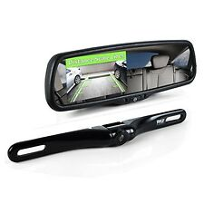 Pyle Rearview Mirror Backup Camera, Car Back Up Camera With Monitor System Kit,