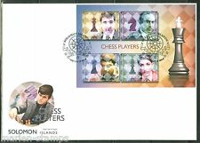 SOLOMON ISLANDS 2014 CHESS PLAYERS KRAMNIK KASPAROV ANAND FISCHER  SHEET  FDC