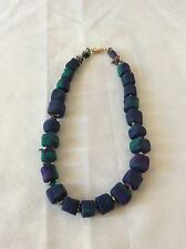 "Vintage Hand Made Enamel Beads Necklace, 16"" Long, Blue, Green, Purple"