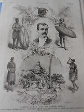 Gravure 1887 - Revoil en Afrique Orientale Tête de Ouagogo Guerrier Femme
