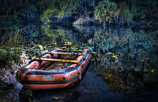 Framed Print - Inflatable Boat on the Mississippi Bayou/River (Picture Poster)