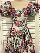 VINTAGE 80s JESSICA McCLINTOCK GARDEN Party PROM 9/10 Dress CRINOLINE ROCKABILLY