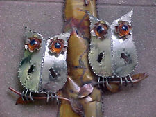 Adorable Vtg '70s Burnt Metal OWL Wall SCULPTURE Welcome to Our Home Enesco 24""