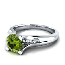 2.05 ct Olive Green Peridot & 100% Certified Natural Diamond Ring Sizable