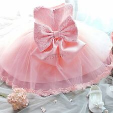 Infant Baby Girl Wedding Party Baptism Christening Easter Gown Bow Flower Dress