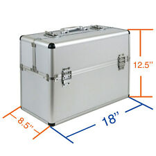 "Pro 19""x10""x14"" Aluminum MakeUp Artist Cosmetic Travel Hard Case Studio Silver"