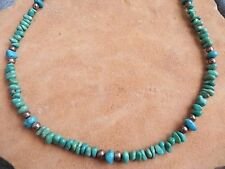 """Turquoise & Sterling Silver Necklace 21.5-23.5"""" Navajo"""