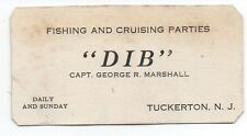 "1920s Business Card for the Fishing Boat "" Dib "" from Tuckertown New Jersey"