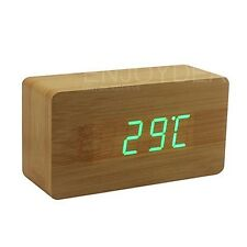 LED Voice-activated Digital Wood Desk Alarm Clock Snooze Thermometer Wooden