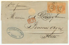 France Cover - Napoleon III - 1869 Le Havre to Buenos Ayres (ARG) - French Line