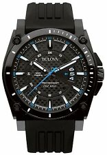 Bulova Men's 98B142 Precisionist Quartz Black Silicone Band Dive Watch
