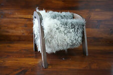 Oak wood Magazine Rack with genuine silver Swedish Gotland sheepskin rug - 8