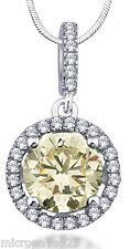 Canary Yellow Round Pendant Sterling Silver 925 With Pave Set Cubic Zirconia