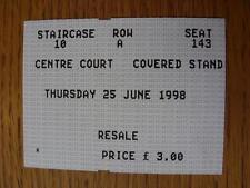 25/06/1998 billet: tennis-wimbledon, centre court [at all england tennis club]