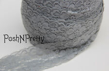 "5 YDS 2"" Premium Lace Stretch Floral Lingerie Headband Elastic - Silver"