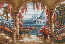 "40"" WALL JACQ. WOVEN TAPESTRY Floral Patio - SUNG KIM ART- MEDITERRANEAN TERRACE"